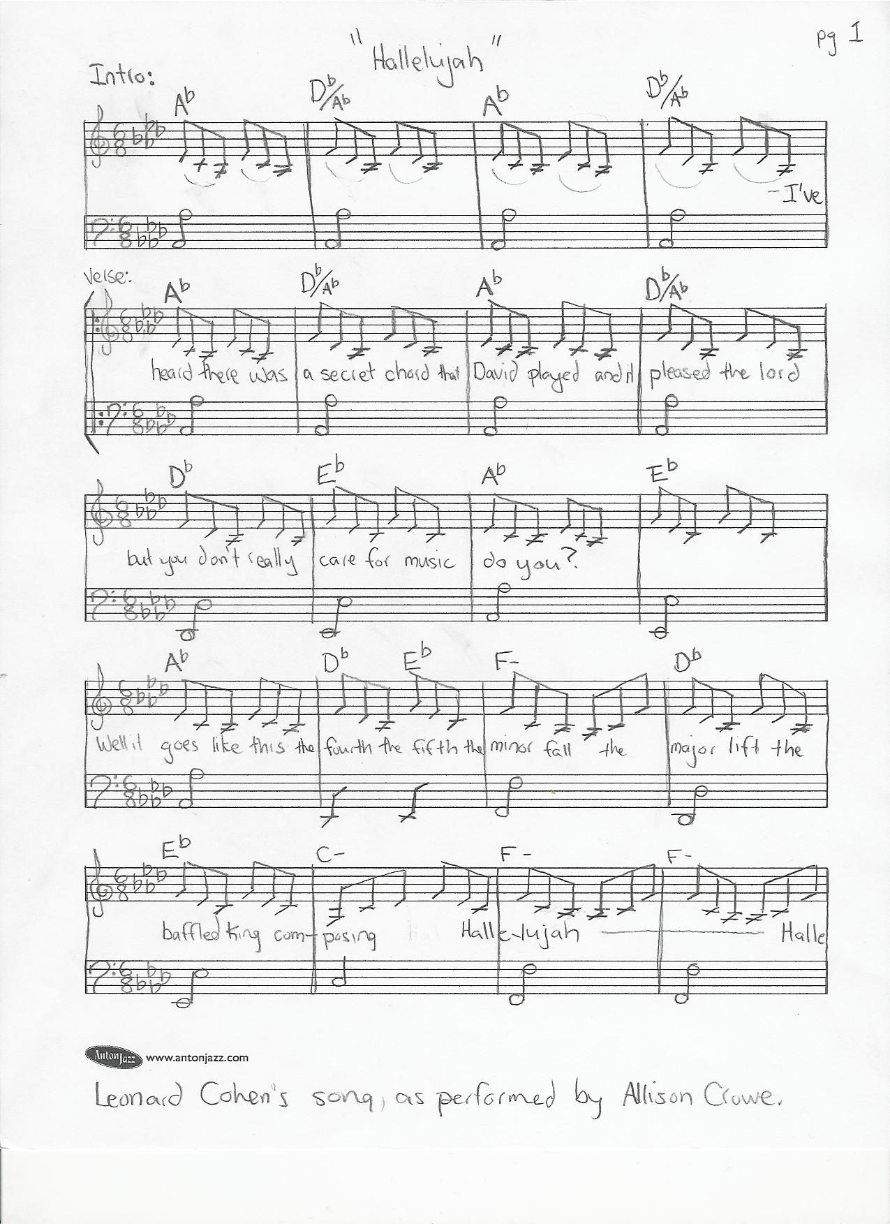 How to make the whole world sing hallelujah american songwriter hallelujahcohencrowetranscription1 hexwebz Choice Image